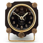 Metal Altimeter Desk Clock in Black and Brass