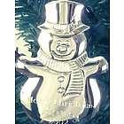 Engravable Silver Tone Snowman Ornament