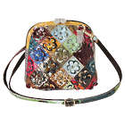 Leather Patchwork Flowers Crossbody Bag