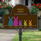 Personalized Easter Bunny Family Garden Stake