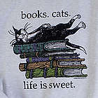 Life Is Sweet Cat and Book Lover's T-Shirt