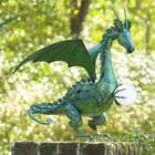 Green Dragon Garden Statue with Solar Pearl