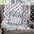 Personalized Fleece Baby Blanket in Black & White