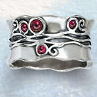 Waves & Garnets Ring in Sterling Silver