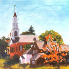 Brick Church in Old Deerfield Framed Art Print