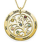 18k Gold Plated Family Tree Birthstone Necklace