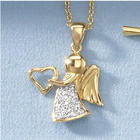 Child's CZ Angel Heart Pendant