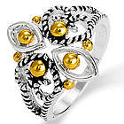 Designer Inspired Cable Filigree Design Two Tone Ring
