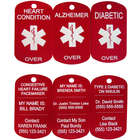 Personalized Medical Alert Red Dog Tag