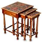 Andean Garden Mahogany and Leather Accent Tables