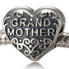 Grandmother's Heart Bead in Sterling Silver with Scroll Design
