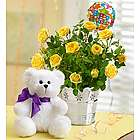Happy Birthday Yellow Rose and Teddy Bear Gift Set