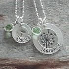 Dandelion Wished for You Mother Daughter Birthstone Necklace Set