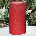 "5"" Red Glitter Flameless Candle with Timer"
