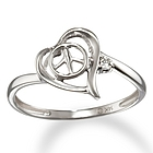 14k White Gold Abstract Diamond Heart and Peace Sign Promise Ring