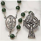 Irish Green Wood Bead Rosary