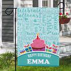 Personalized Birthday Cupcake Word-Art Garden Flag