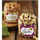 Pumpkin Spice and Cranberry Popcorn in Give Thanks Canisters