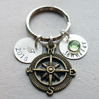 Graduate's Personalized Compass Key Chain with Birthstone