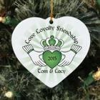Personalized Ceramic Claddaugh Heart Ornament