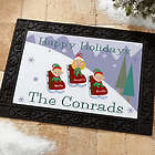 Sledding Family Personalized Holiday Doormat