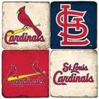 St. Louis Cardinals Italian Marble Coasters with Iron Holder