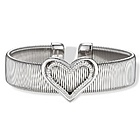 Stainless Steel Diamond Heart Cuff Bangle Bracelet