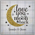 Personalized I Love You to the Moon and Back Square Canvas Print