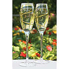 Personalized Gold Swirl Glass Flutes