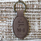 Personalized I Love You Leather Key Chain