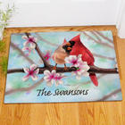 Personalized Spring Cardinals Doormat