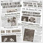 Man Cave 6 Iconic Headlines Newspaper Reproductions
