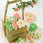 Decorated Cookies in Wooden Planter Gift Box