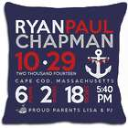 Personalized Birth Announcement Anchor Pillow in Dark Blue