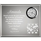 Hearts and Wedding Rings Valentine Anniversary Clock