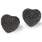 14k White Gold Puffed Black Diamond Heart Earrings