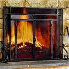 Large 2-Door Tubular Steel Fire Screen with Tempered Glass Accent