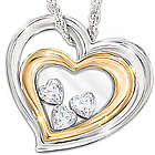 Window to my Heart Daughter Pendant with Floating Hearts