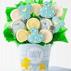 Baby Boy Decorated Cookie Bouquet in a Bucket