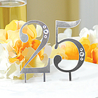 25th Wedding Anniversary Rhinestone Cake Topper