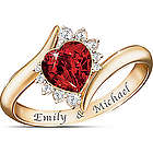 Sweetheart Couples Name Engraved Diamonesk Ring
