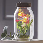 Glass Solar Jar with Flowers