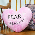 No Fear Personalized Awareness Heart Throw Pillow
