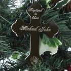 Personalized Nickel-Plated Baptism Cross Ornament