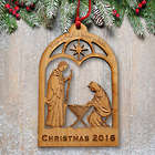 Personalized Wood Manger Holiday Ornament