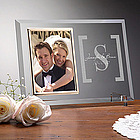 Engraved Glass Wedding Picture Frame with Monogram