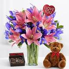 Ultimate Truly Spectacular Bouquet with Chocolates and Teddy Bear