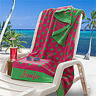Pink and Lime Oversized Personalized Beach Towel