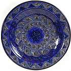 "Moroccan Cobalt Carved 16"" Decorative Plate"