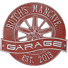 Personalized Racing Wheel Aluminum Garage Plaque in Red & Silver